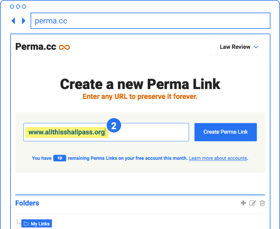 An illustration of the Perma.cc create page: a simple form. The URL from step 1 appears in the input field, and there is a button labelled 'Create Perma Link'