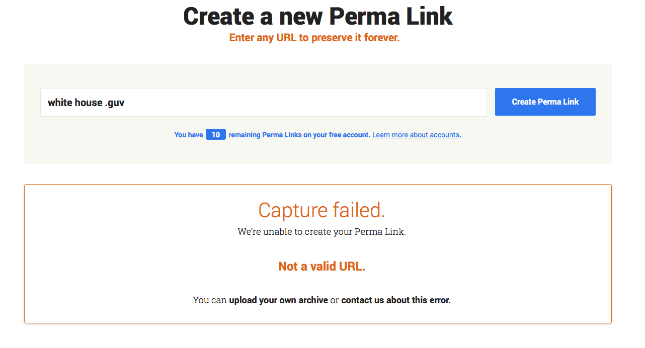 A screenshot of an error message on the Create a Perma Link page. The error message is beneath the Create a Perma Link form and includes details, a link for uploading your own image and a link for getting help.