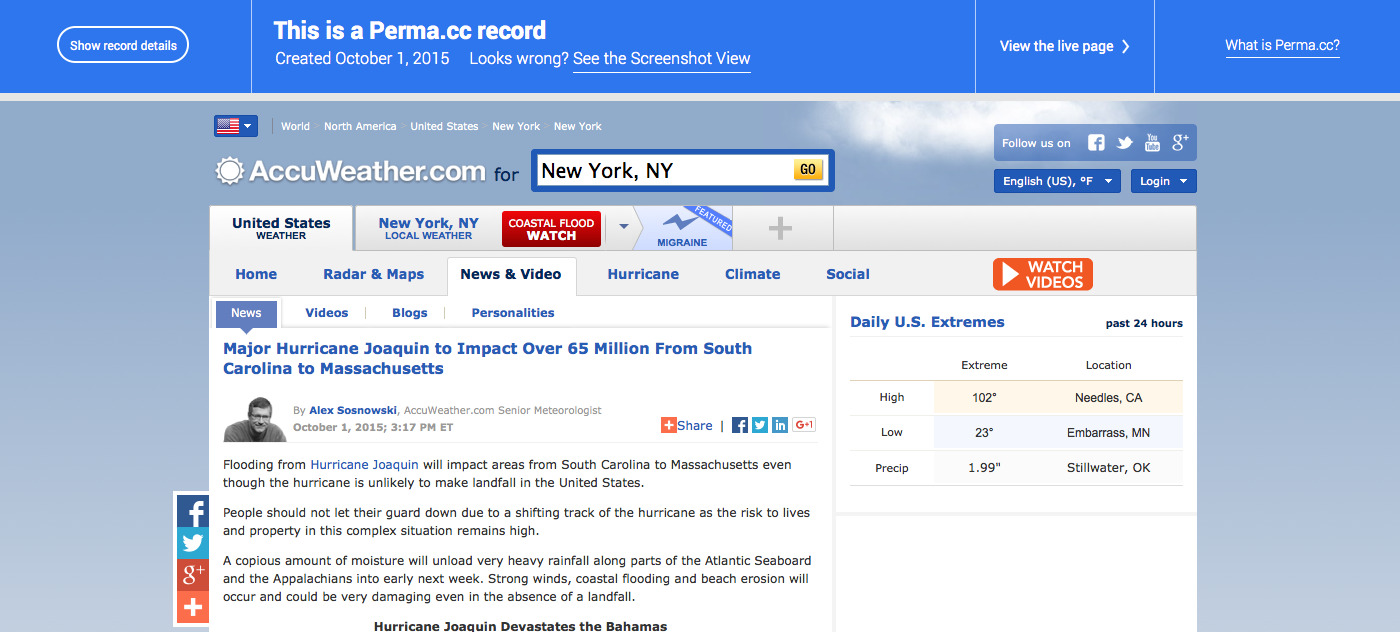 A screenshot of a Perma Link's Record page. A header with links to all the versions of the record tops the page. Underneath, the complete contents of the archived website appears, an exact copy of the original.